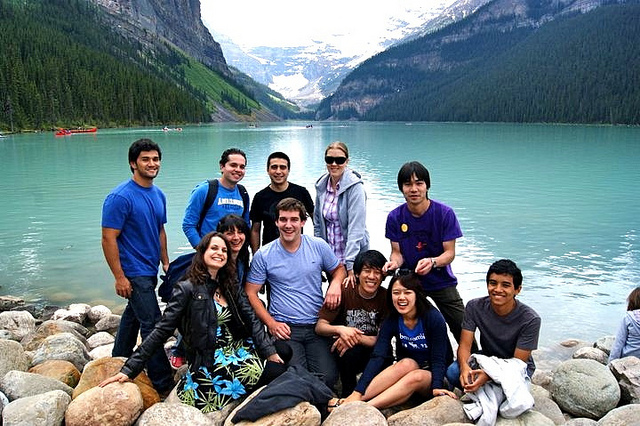 students at Lake Louise